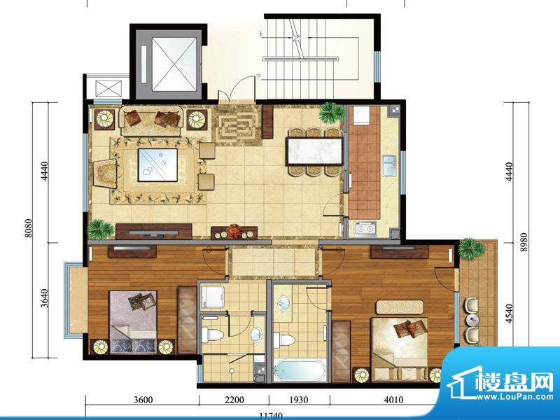 亿城西山公馆新b-b户型图 2室2面积:117.00平米