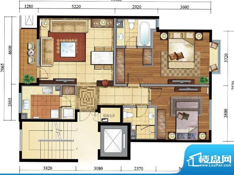 亿城西山公馆新b-d户型图 2室2面积:109.00平米