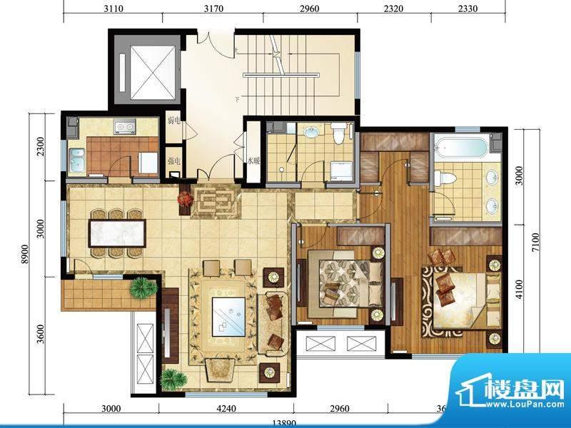 亿城西山公馆新b-e户型图 2室2面积:113.00平米