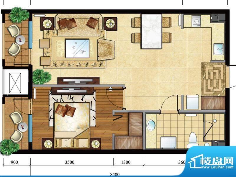 亿城西山公馆新c-a户型图 1室1面积:69.00平米