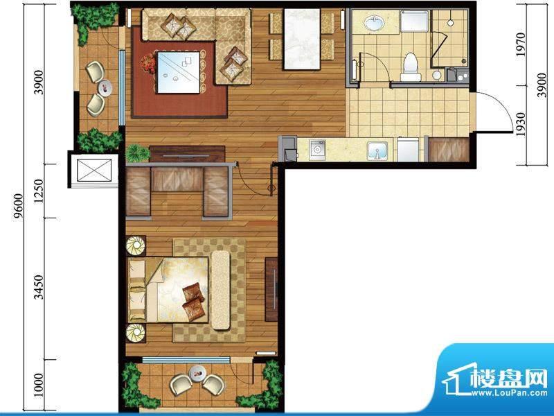 亿城西山公馆新c-j户型图 1室1面积:72.00平米