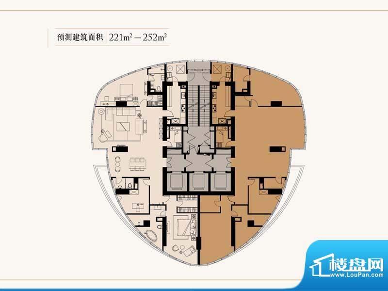 中星美华村整层户型图 3室2厅3面积:221.00平米