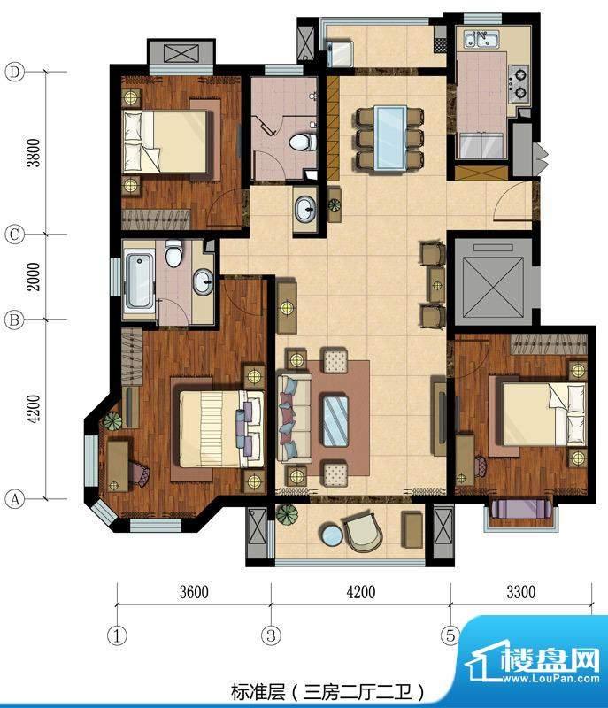恒盛·埃菲尔映像标准层3居户型