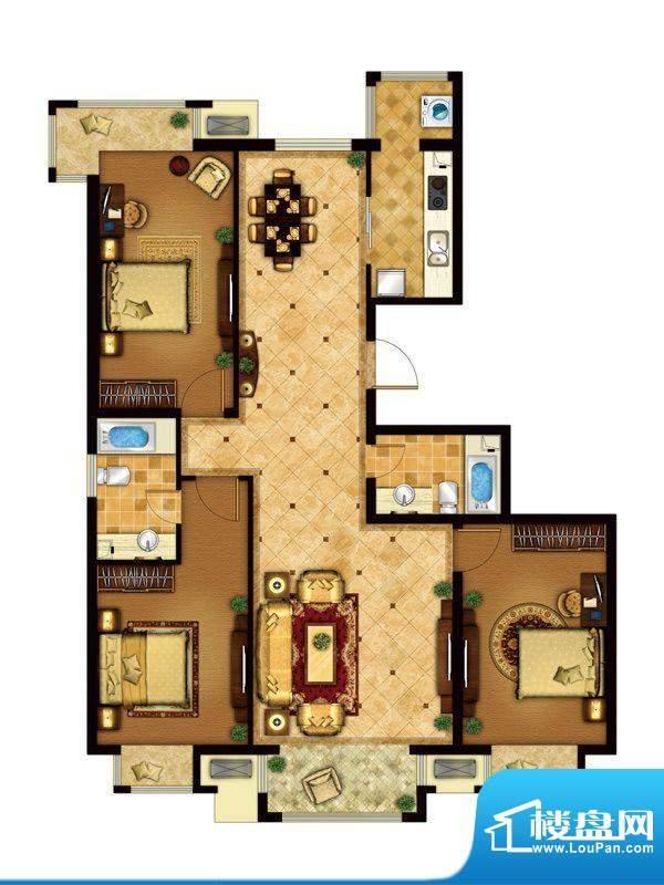懿品府3-D户型图 3室2厅2卫1厨面积:141.50平米