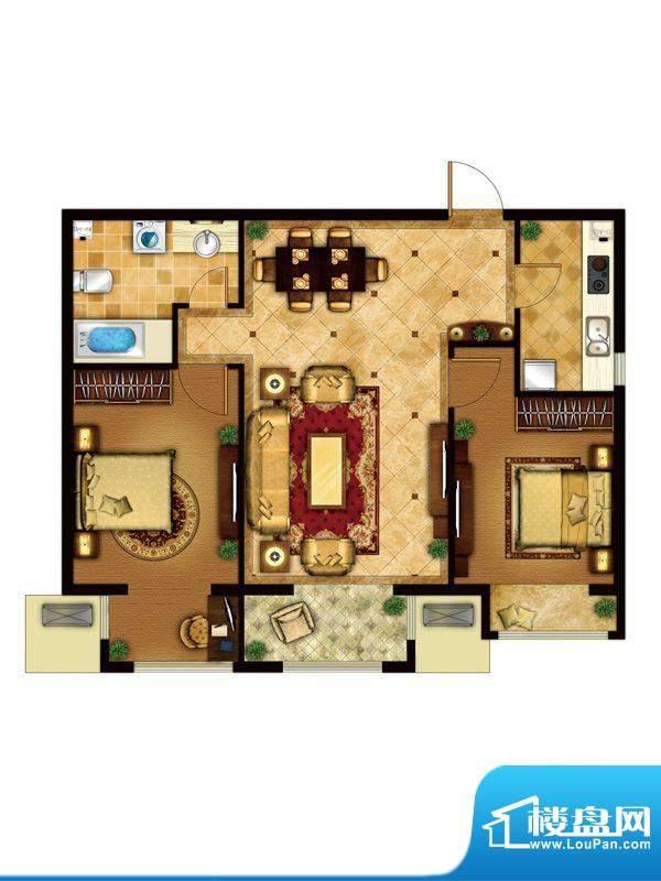 懿品府4-B户型图 2室1厅1卫1厨面积:91.56平米