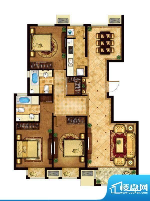 懿品府2-A户型图 3室2厅2卫1厨面积:144.05平米