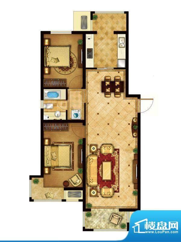 懿品府2-C户型图 2室1厅1卫1厨面积:107.37平米