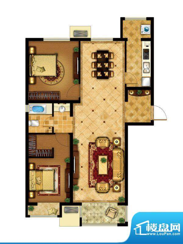 懿品府4-E户型图 2室1厅1卫1厨面积:113.97平米