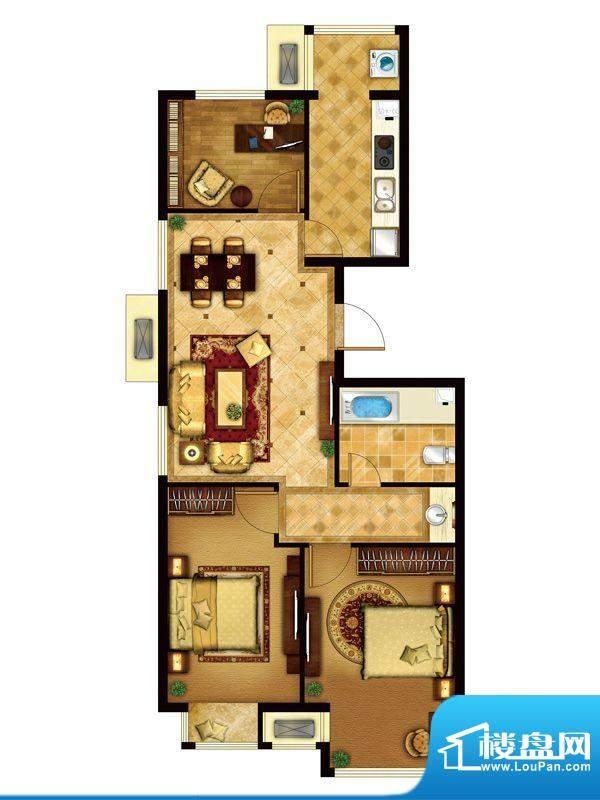 懿品府5-B户型图 3室2厅1卫1厨面积:103.31平米