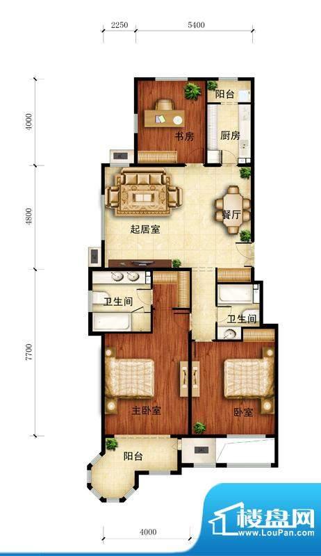 金谷香郡A-2户型图 3室1厅2卫1面积:148.00平米