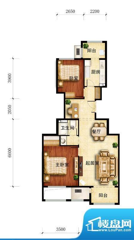 金谷香郡B1-2户型图 2室1厅1卫面积:96.50平米