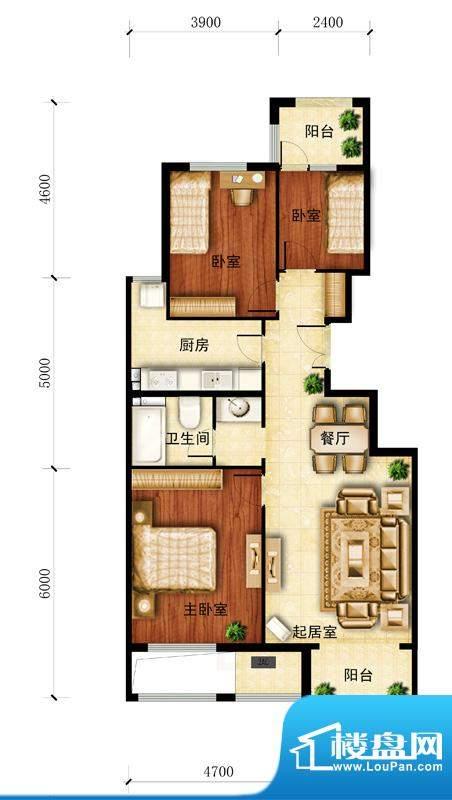 金谷香郡B户型图 3室1厅1卫1厨面积:104.50平米