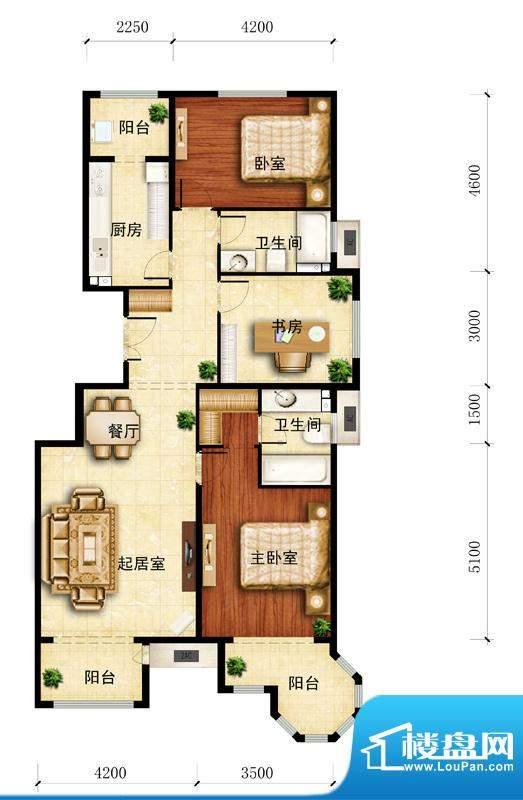 金谷香郡C-2户型图 3室1厅2卫1面积:127.20平米