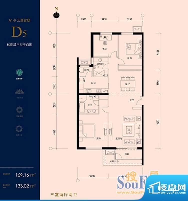 北京华侨城D5户型 3室2厅2卫1厨面积:169.16平米