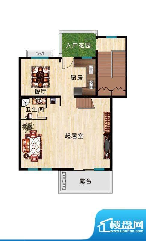 恒盛·藝墅F2三层户型图 2厅1卫