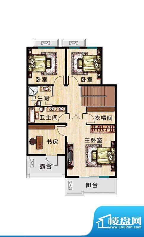 恒盛·藝墅F1二层户型图 3室2卫