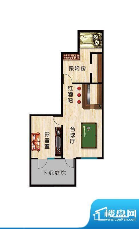 恒盛·藝墅F1地下户型图 2室1厅