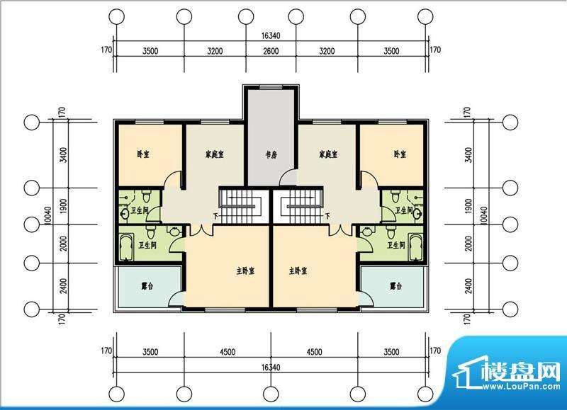 恒盛·藝墅叠拼四层平面图 4室