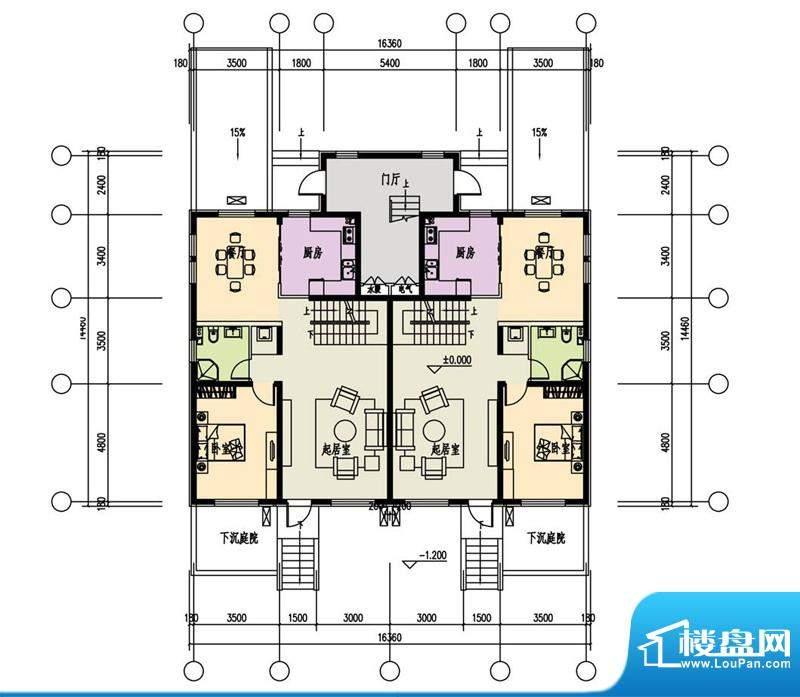 恒盛·藝墅叠拼首层平面图 2室
