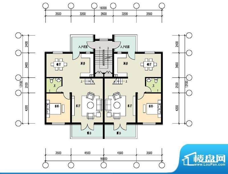 恒盛·藝墅叠拼三层平面图 2室