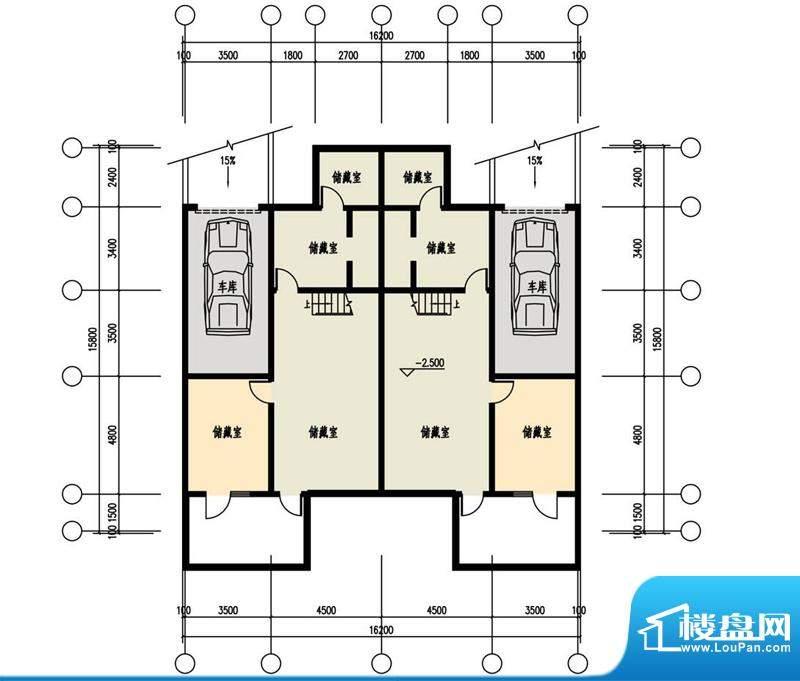 恒盛·藝墅叠拼地下层平面图 6