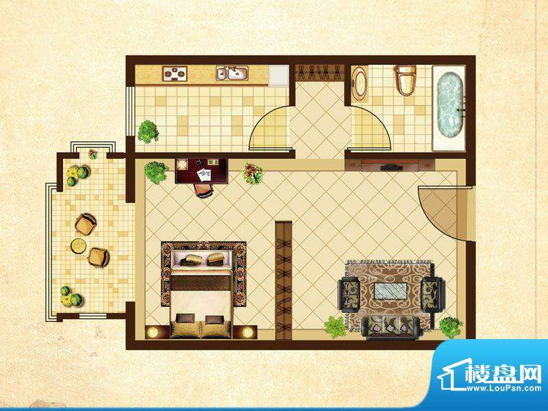 米拉village09\\10户型 1室1厅面积:42.82平米