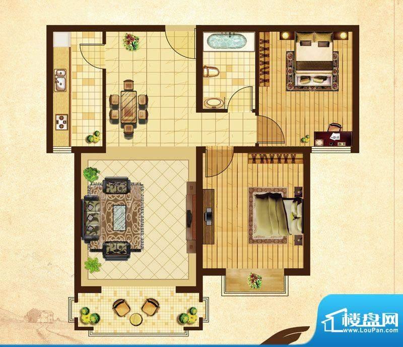 米拉village02\\03顶层 2室2厅面积:108.00平米