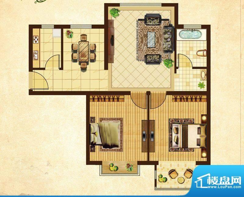米拉village01\\05户型 2室2厅面积:87.40平米