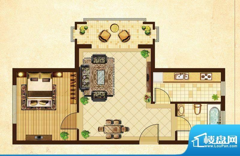 米拉village11户型 1室2厅1卫1面积:59.19平米
