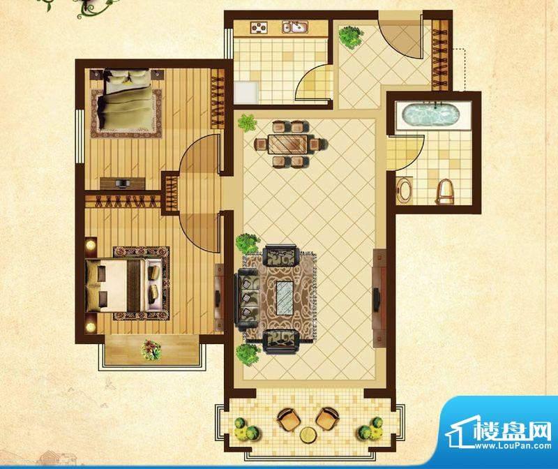 米拉village08户型 2室2厅1卫1面积:74.33平米