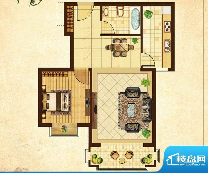 米拉village07户型 1室2厅1卫1面积:66.20平米