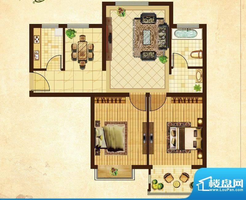 米拉village06户型 2室2厅1卫1面积:79.39平米