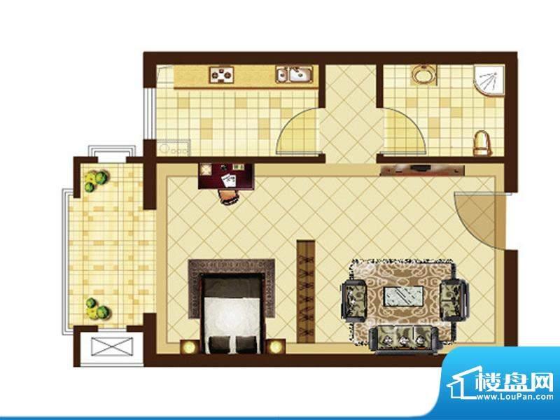米拉villageF户型 1室1厅1卫1厨面积:42.82平米