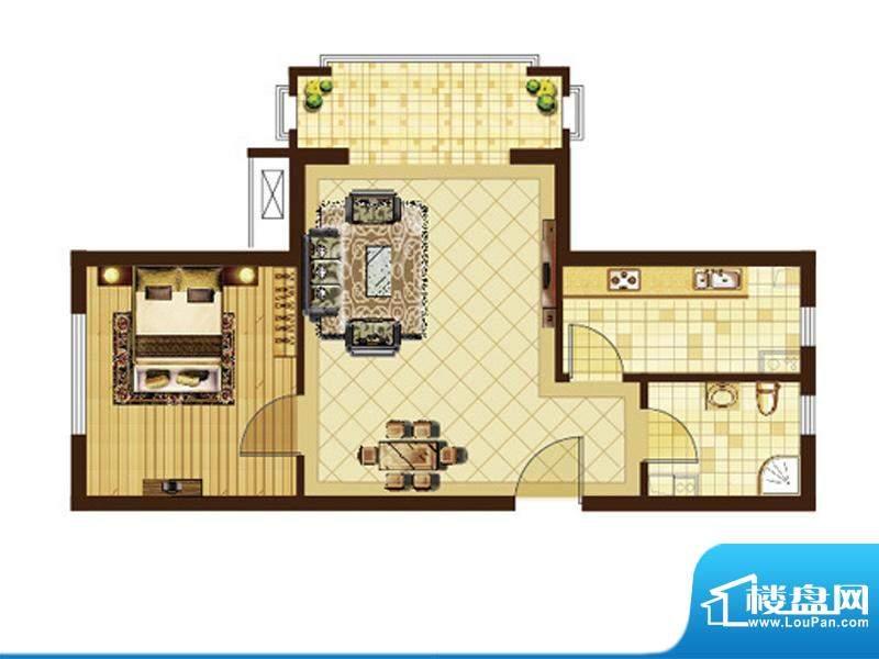 米拉villageG户型 1室1厅1卫1厨面积:59.19平米