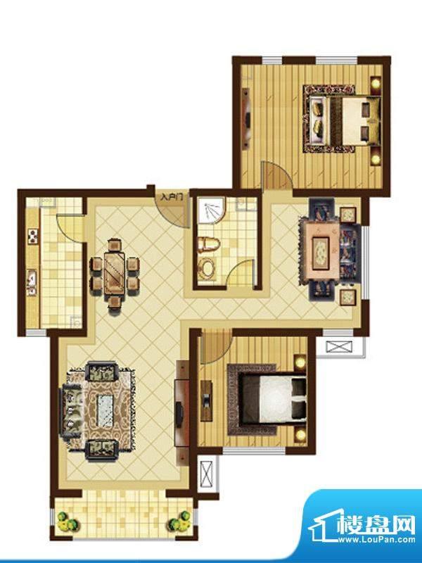 米拉villageH户型 3室2厅1卫1厨面积:108.16平米