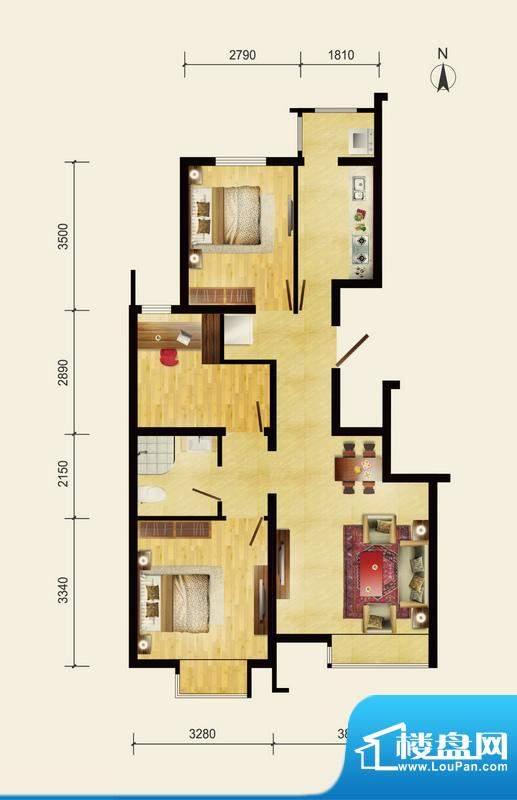 润枫领尚C户型 3室2厅1卫1厨面积:88.74平米