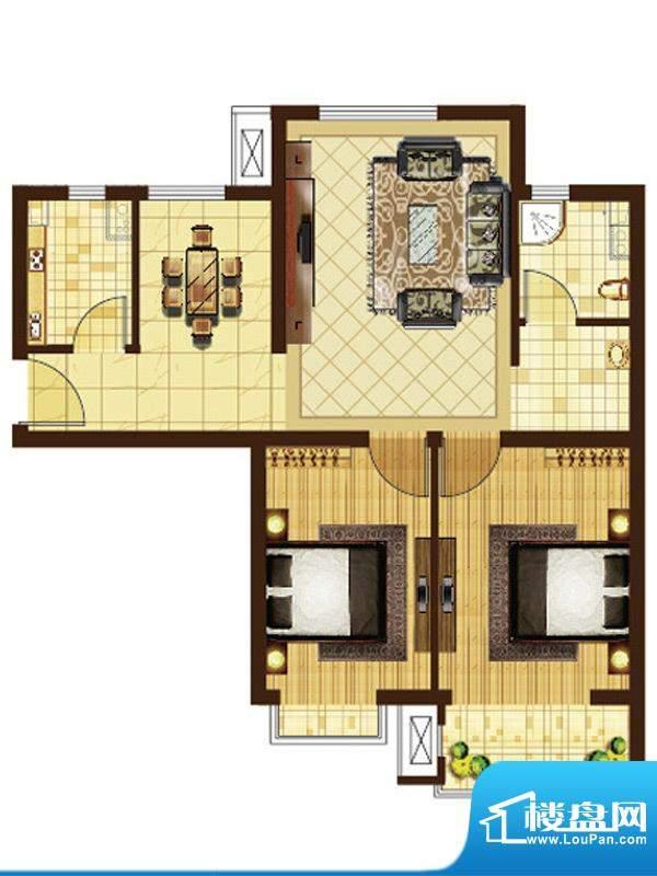 米拉villageA户型 2室2厅1卫1厨面积:87.40平米