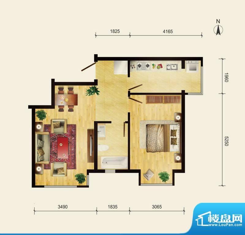 润枫领尚A2户型 1室1厅1卫1厨面积:70.09平米