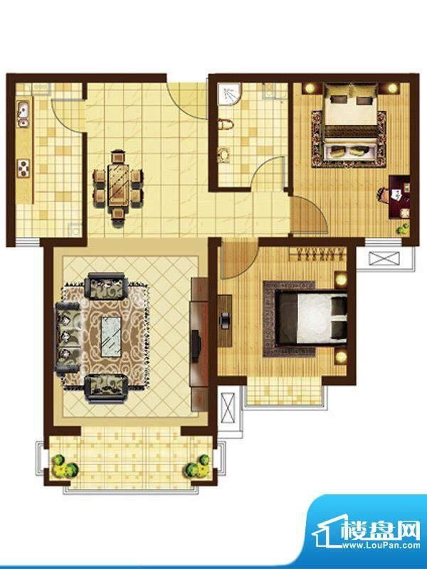 米拉villageB户型 2室2厅1卫1厨面积:87.86平米