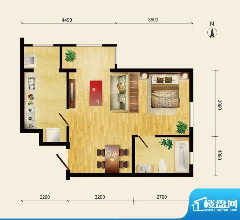 润枫领尚A1户型 1室1厅1卫1厨面积:55.79平米
