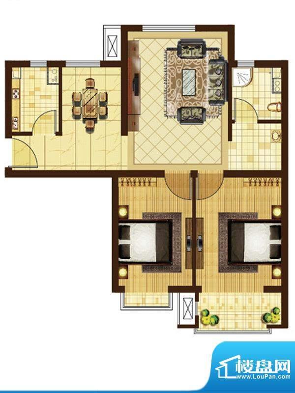 米拉villageC户型 2室2厅1卫1厨面积:79.39平米