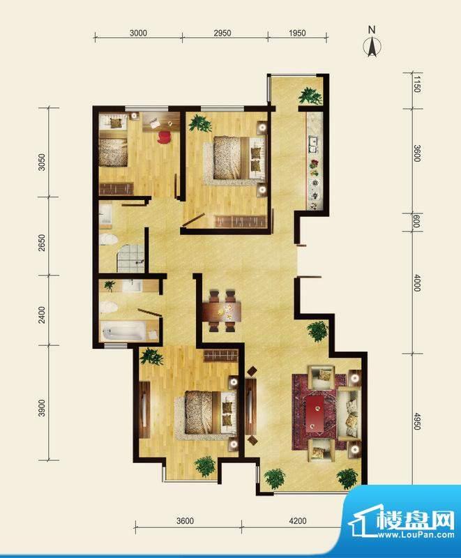 润枫领尚D户型 3室2厅1卫1厨面积:117.00平米