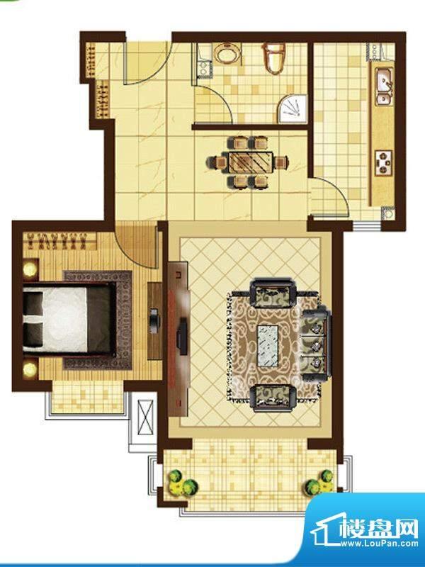 米拉villageD户型 1室1厅1卫1厨面积:66.20平米