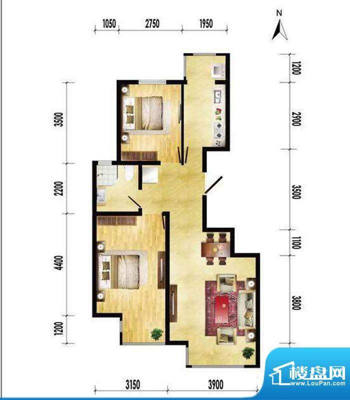润枫领尚B户型 2室2厅1卫1厨面积:87.20平米