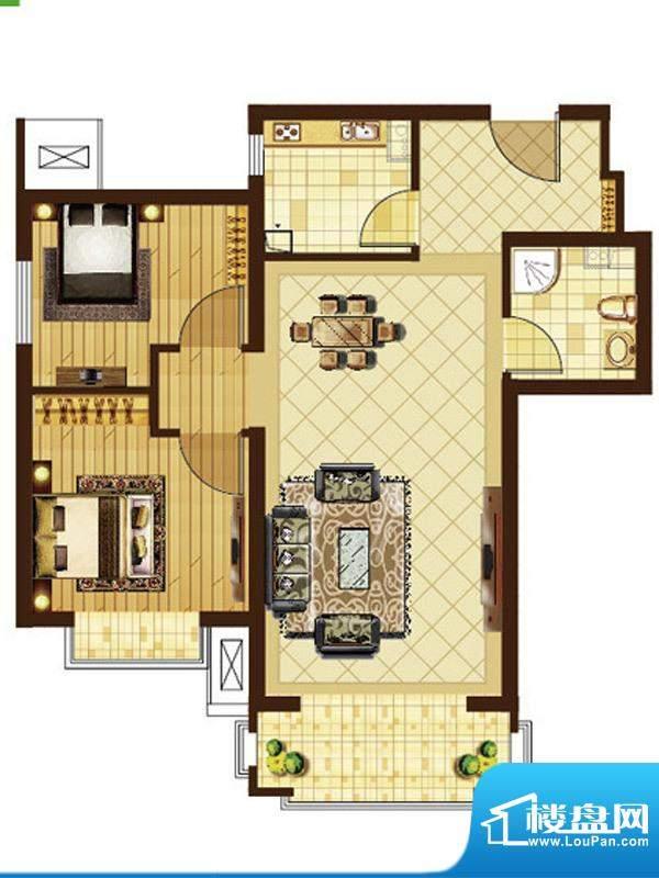 米拉villageE户型 2室2厅1卫1厨面积:74.33平米