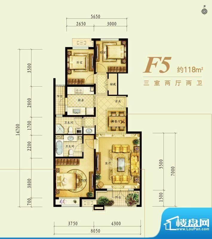 金地仰山f5户型图 3室2厅2卫1厨面积:118.00平米