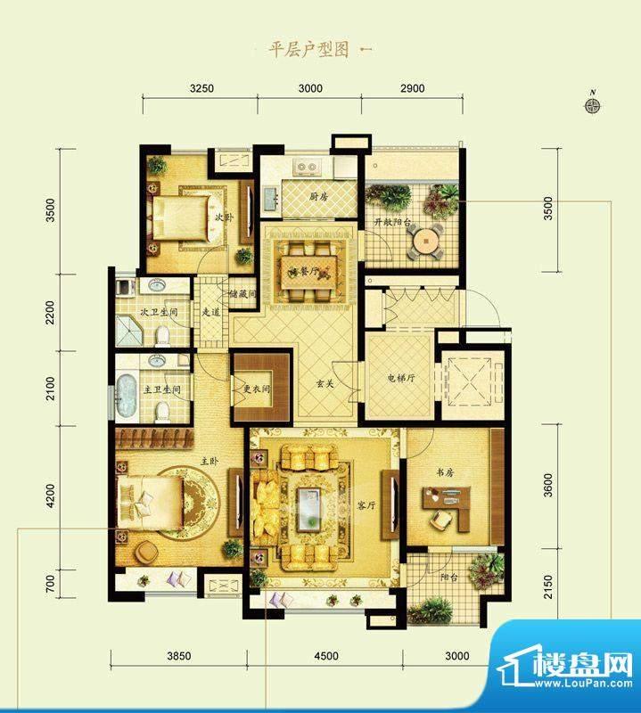 金地仰山A6户型图 3室2厅2卫1厨面积:140.00平米