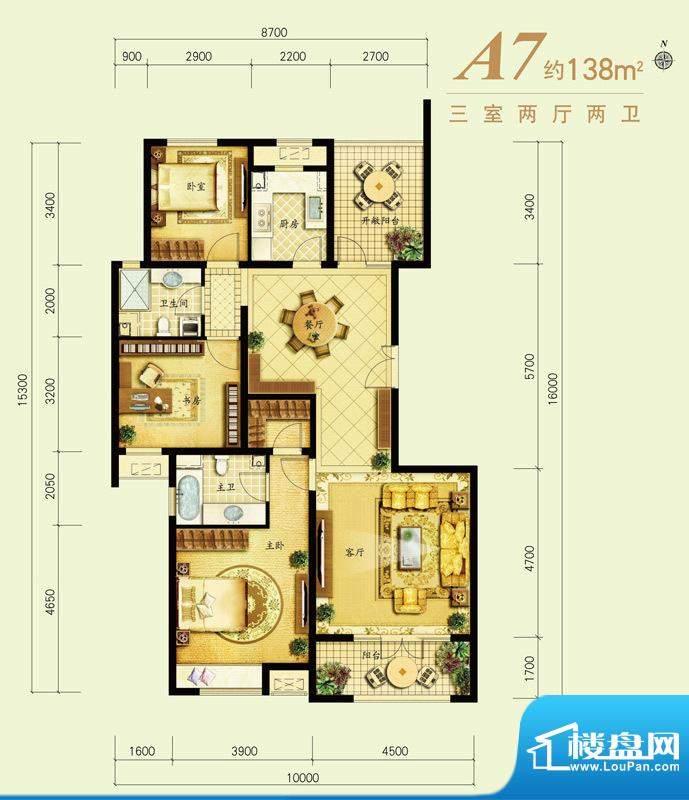 金地仰山户型图-A7J 3室2厅2卫面积:138.00平米