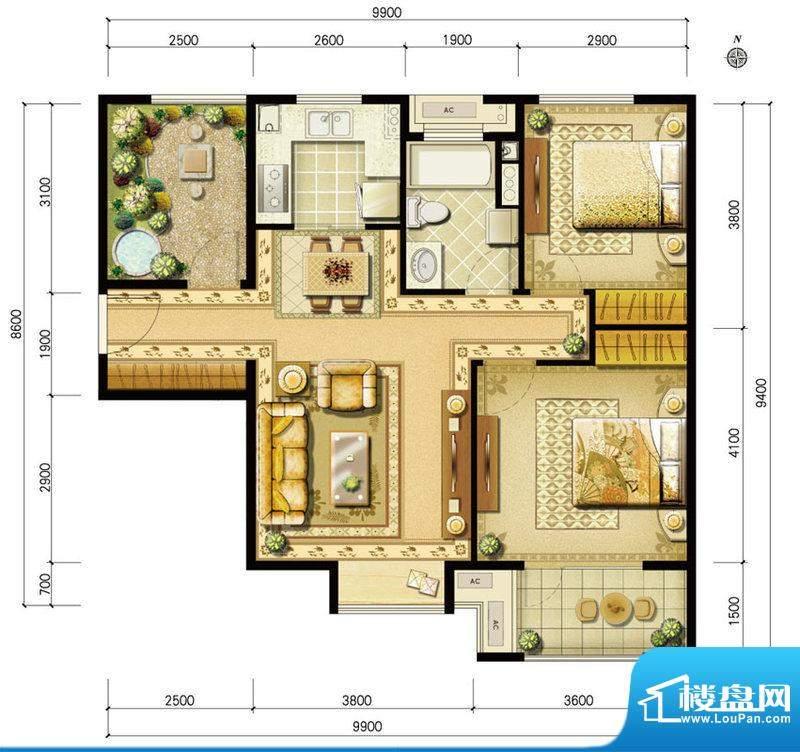 金地仰山西区B5户型 2室2厅1卫面积:92.00平米