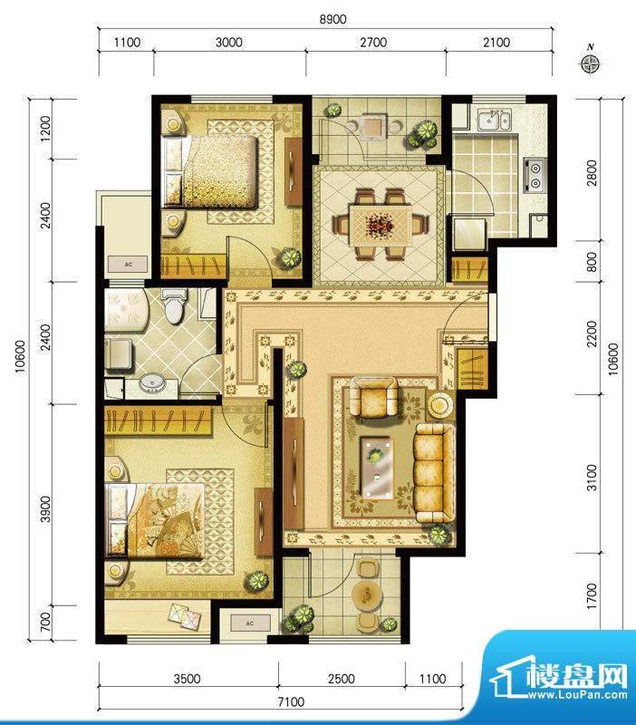 金地仰山西区B1户型 2室2厅1卫面积:90.00平米